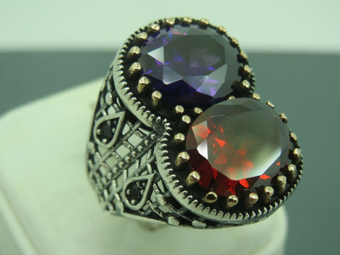 Turkish Handmade Jewelry 925 Sterling Silver Multi Stone Men's Ring Sz 9
