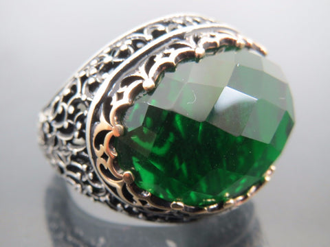 Emerald Stone Turkish Jewelry Handmade 925 Sterling Silver Mens Ring ALL SİZE9