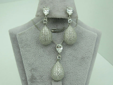 Turkish Handmade Jewelry 925 Sterling Silver Zircon Stone Women Earring Set