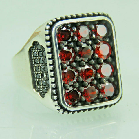 Turkish Handmade Jewelry 925 Sterling Silver Ruby Stone Men Ring Sz 9