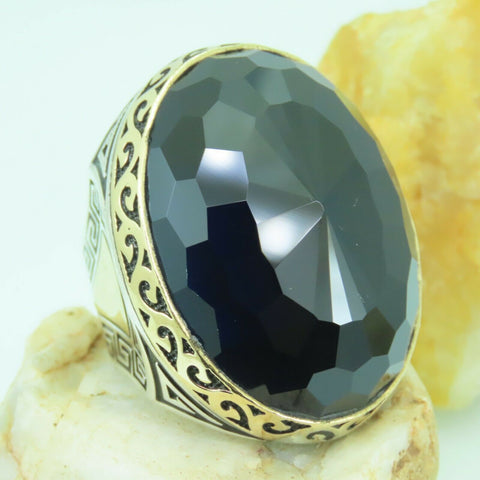 Turkish Handmade Jewelry 925 Sterling Silver Dark Sapphire Men's Ring Sz 12