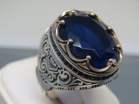 Details about  /Turkish jewelry 925 Sterling Silver Solid sapphire stone Mens ring TR