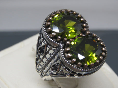 Turkish Handmade Jewelry 925 Sterling Silver Peridot Stone Men's Ring
