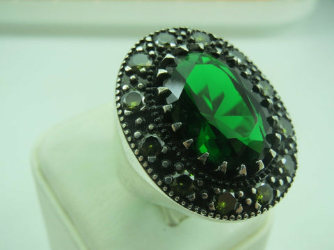 Turkish Handmade Jewelry 925 Sterling Silver Emerald Stone Men Ring Sz 9