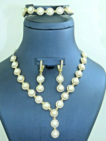 Turkish Handmade Jewelry 925 Sterling Silver Pearl Stone Women Necklace Set