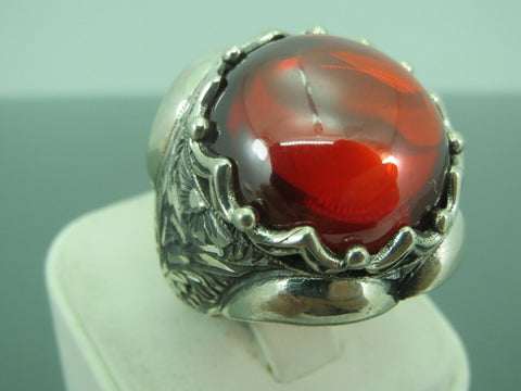 Turkish Handmade Jewelry 925 Sterling Silver Agate Stone Men's Ring