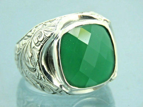 Turkish Handmade Jewelry 925 Sterling Silver Emerald Stone Men Ring Sz 12