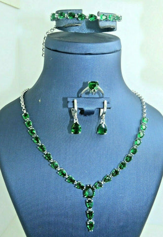 Turkish Handmade Jewelry 925 Sterling Silver Emerald Stone Women Necklace Set