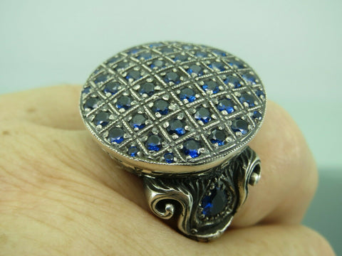 Turkish Handmade Jewelry 925 Sterling Silver Sapphire Stone Men's Ring All Sz