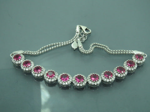 Turkish Handmade Jewelry 925 Sterling Silver Ruby Stone Ladies' Bracelet