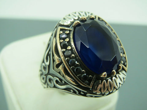 Turkish Handmade Jewelry 925 Sterling Silver Sapphire Stone Men's Ring Sz 11