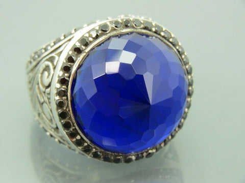 Turkish Handmade Jewelry 925 Sterling Silver Sapphire Stone Men Ring Sz 12