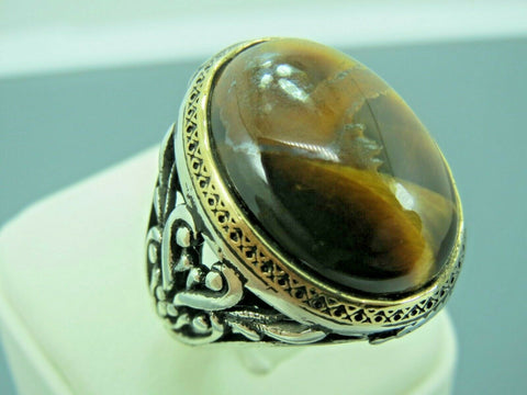 Turkish Handmade Jewelry 925 Sterling Silver Tiger's Eye Stone Men Ring Sz 11