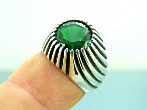 Turkish Handmade Jewelry 925 Sterling Silver Emerald Stone Men Ring Sz 7