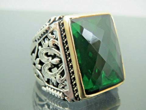 Turkish Handmade Jewelry 925 Sterling Silver Emerald Stone Men Ring Sz 10