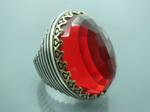 Turkish Handmade Jewelry 925 Sterling Silver Garnet Stone Men's Ring Sz 10