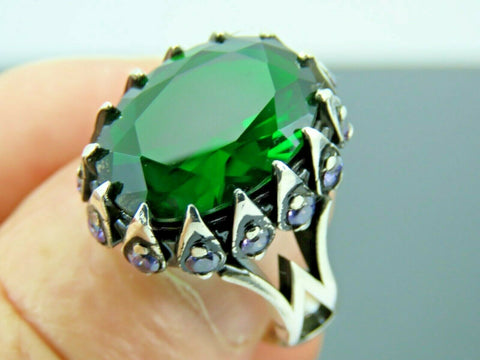 Turkish Handmade Jewelry 925 Sterling Silver Emerald Stone Men's Ring Sz 11