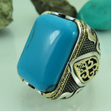 Turkish Handmade Jewelry 925 Sterling Silver Turquoise Stone Men Ring Sz 12