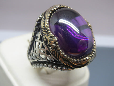 Turkish Handmade Jewelry 925 Sterling Silver Amethyst Stone Men's Ring Sz 11