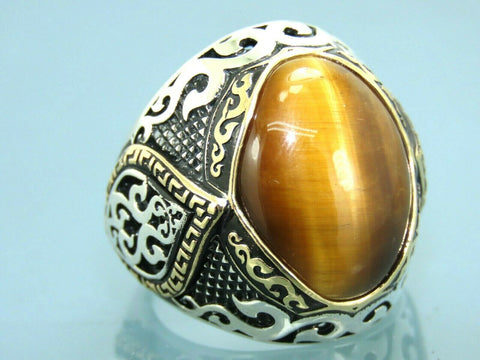 Turkish Handmade Jewelry 925 Sterling Silver Tiger's Eye Stone Men Ring Sz 9