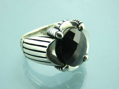 Turkish Handmade Jewelry 925 Sterling Silver Onyx Stone Men Ring Sz 9