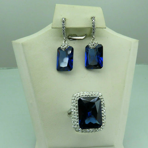 Turkish Handmade Jewelry 925 Sterling Silver Sapphire Stone Women Earring Set