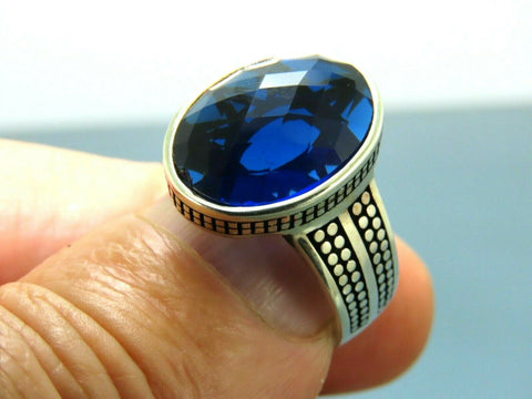 Turkish Handmade Jewelry 925 Sterling Silver Sapphire Stone Men Ring Sz 9