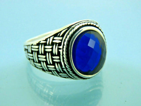 Turkish Handmade Jewelry 925 Sterling Silver Sapphire Stone Men Ring Sz 10