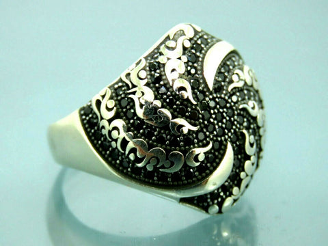 Turkish Handmade Jewelry 925 Sterling Silver Onyx Stone Men Ring Sz 11