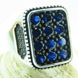 Turkish Handmade Jewelry 925 Sterling Silver Sapphire Stone Men Ring Sz 11