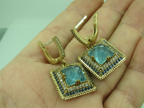 Turkish Handmade Jewelry 925 Sterling Silver Aquamarine Stone Women Earrings