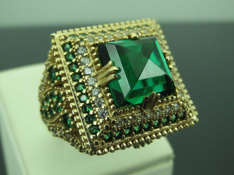 Turkish Handmade Jewelry 925 Sterling Silver Emerald Stone Ladies Ring