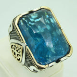 Turkish Handmade Jewelry 925 Sterling Silver Aquamarine Stone Men Ring Sz 12
