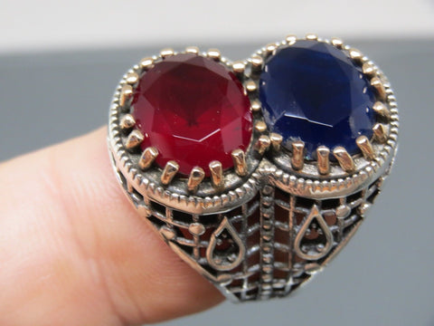 Turkish Handmade Jewelry 925 Sterling Silver Ruby & Sapphire Men's Ring