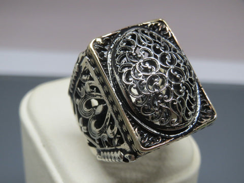 Turkish Handmade Jewelry 925 Sterling Silver Ottoman Design Men's Ring