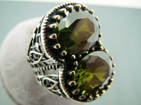 Turkish Handmade Jewelry 925 Sterling Silver Peridot Stone Men's Ring Sz 8