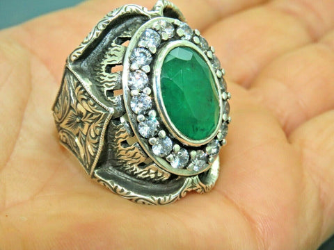 Turkish Handmade Jewelry 925 Sterling Silver Emerald Stone Men Ring Sz 11