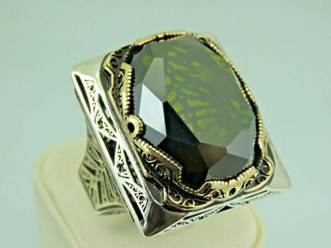 Turkish Handmade Jewelry 925 Sterling Silver Peridot Stone Men's Ring Sz 12