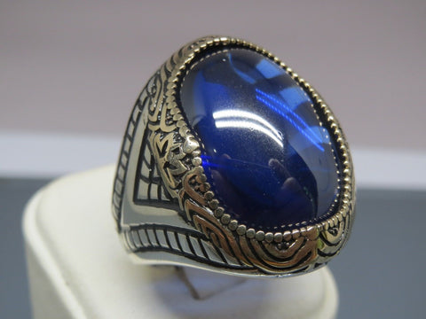 Turkish Handmade Jewelry 925 Sterling Silver Sapphire Stone Men's Ring Sz 9