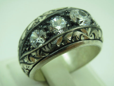 Turkish Handmade Jewelry 925 Sterling Silver Zircon Stone Men's Ring