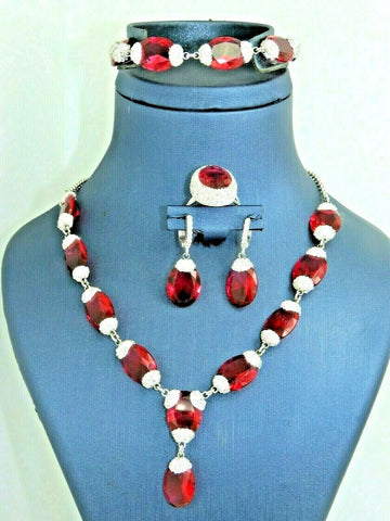 Turkish Handmade Jewelry 925 Sterling Silver Ruby Stone Women Necklace Set