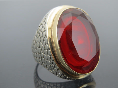 Turkish Handmade Jewelry 925 Sterling Silver Ruby Stone Men Ring