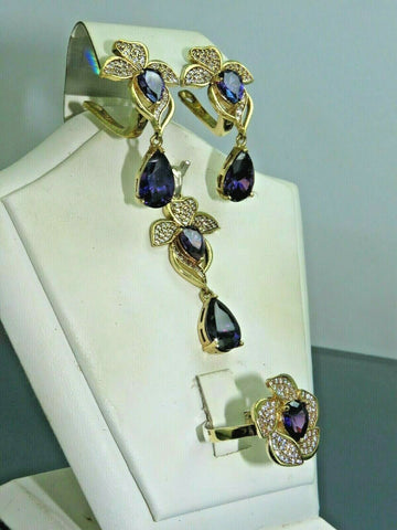 Turkish Handmade Jewelry 925 Sterling Silver Amethyst Stone Women Earring Set