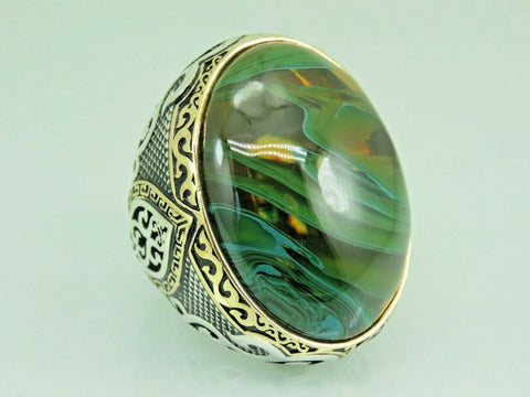 Turkish Handmade Jewelry 925 Sterling Silver Amber Stone Men Ring Sz 12