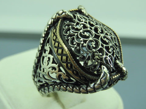 Turkish Handmade Jewelry 925 Sterling Silver Claw Design Men's Ring