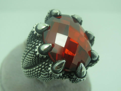 Turkish Handmade Jewelry 925 Sterling Silver Ruby Stone Men Ring Sz 12