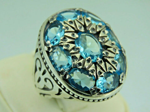 Turkish Handmade Jewelry 925 Sterling Silver Aquamarine Stone Men Ring Sz 9