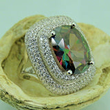 Turkish Handmade Jewelry 925 Sterling Silver Rainbow Stone Women Ring Sz 9