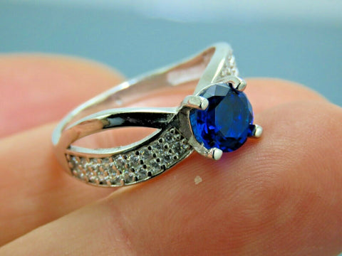 Turkish Handmade Jewelry 925 Sterling Silver Sapphire Stone Women Ring Sz 8