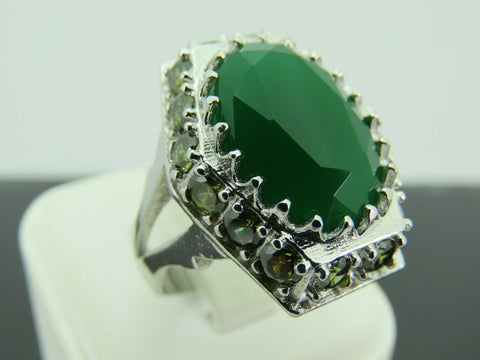 Turkish Handmade Jewelry 925 Sterling Silver Emerald Stone Men's Ring Sz 10